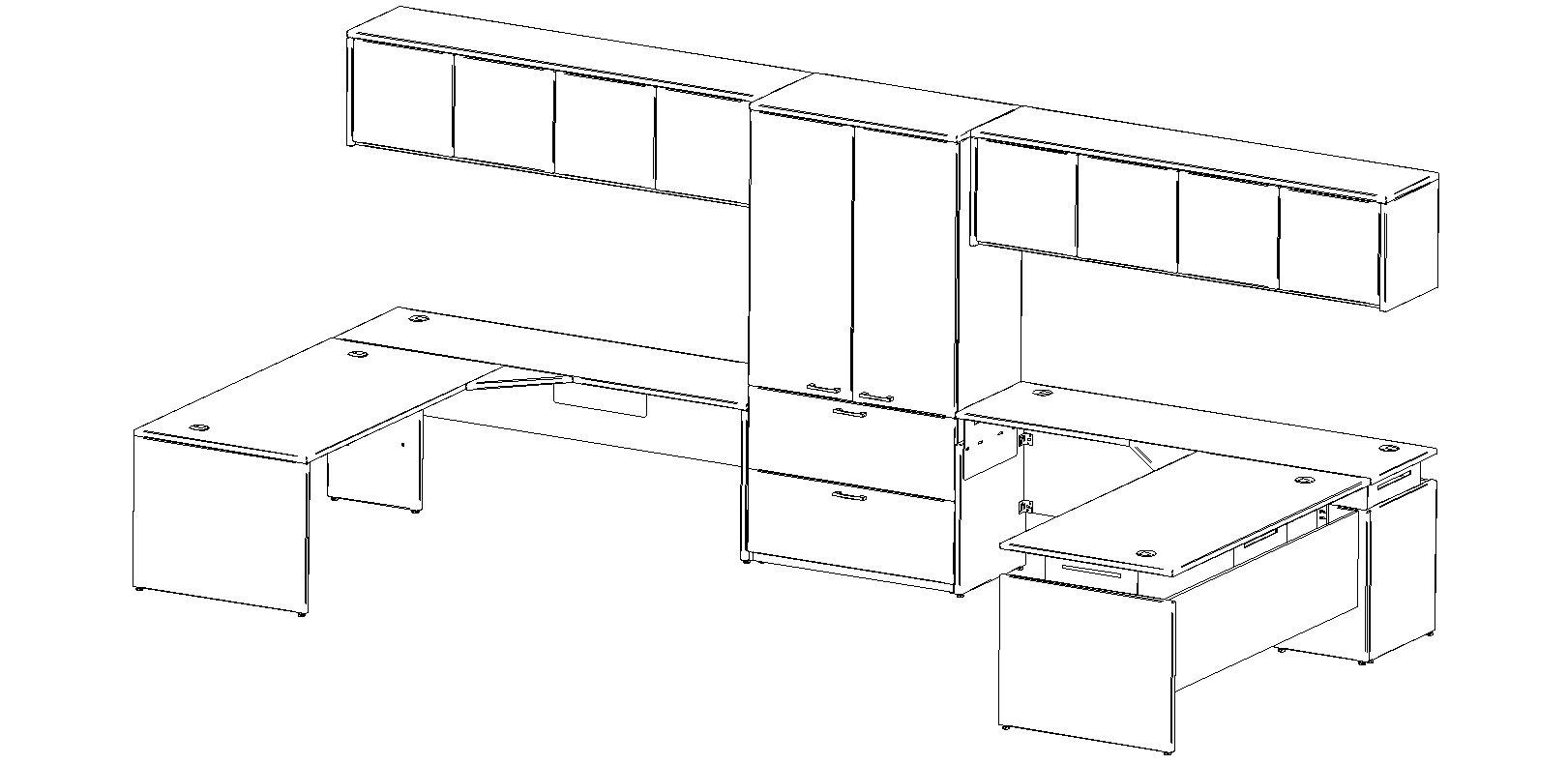 Configuration gamme de meubles de bureaux Verflex / Mobilier Corporatif Poitras